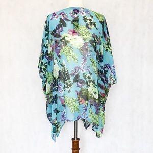 Cejon Swim - Cejon Floral Print Sheer Kimono Cover Up Top